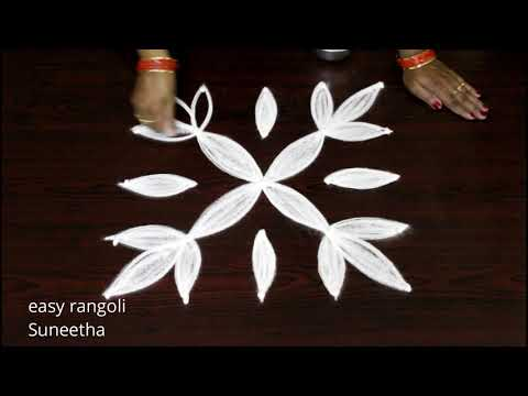 Creative  kolam with 5 dots    Simple  muggulu for beginners     Beautiful  designs with dots