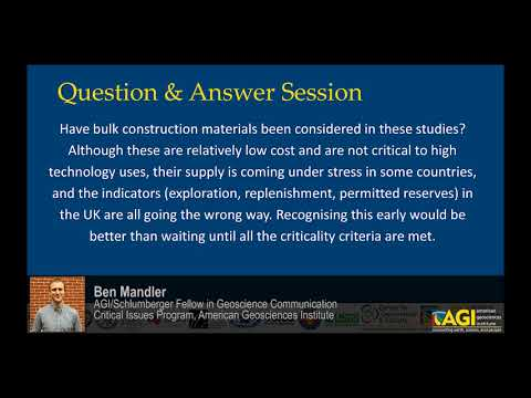 The Global Supply of Critical Materials: Question & Answer Session