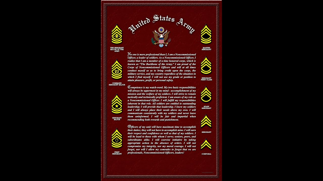 Certificate Nco Creed Army Poster