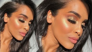 GLAM GOLD GLITTERY EYES MAKEUP TUTORIAL| NikkisSecretx