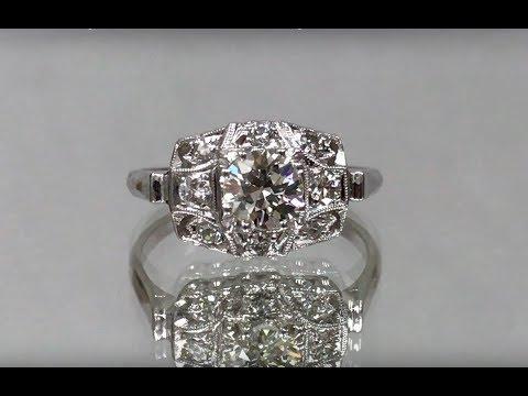1950s Era Vintage Platinum & Old Mine Cut Diamond Ring