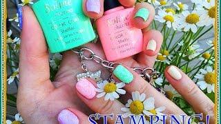 Стемпинг на Гель Лак Soline Charms  SND с пластиной Mundo de Unas №3/Stamping nail art.