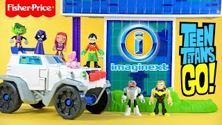 Imaginext Teen Titans Go! Tower w/ Robin Cyborg Mammoth & Silkie plus Transforming Battle Rig