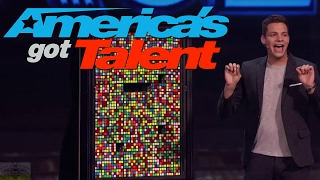 Steven Brundage: Magician Baffles Audience with Giant Wall of Rubik's Cubes