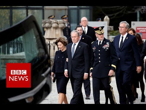 George HW Bush Funeral: Hearse arrives at National Cathedral - BBC News