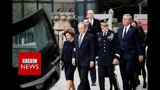 George WH Bush Funeral: Hearse arrives at National Cathedral - BBC News