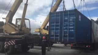Погрузка контейнера 20 футов в еврофуру(, 2016-09-05T06:02:02.000Z)