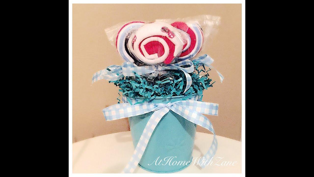 Diy giant baby washcloths lollipops/ how to make baby washcloths.
