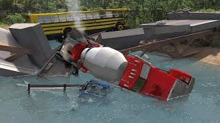 Collapsing Bridge Pileup Crashes 18 | BeamNG.drive