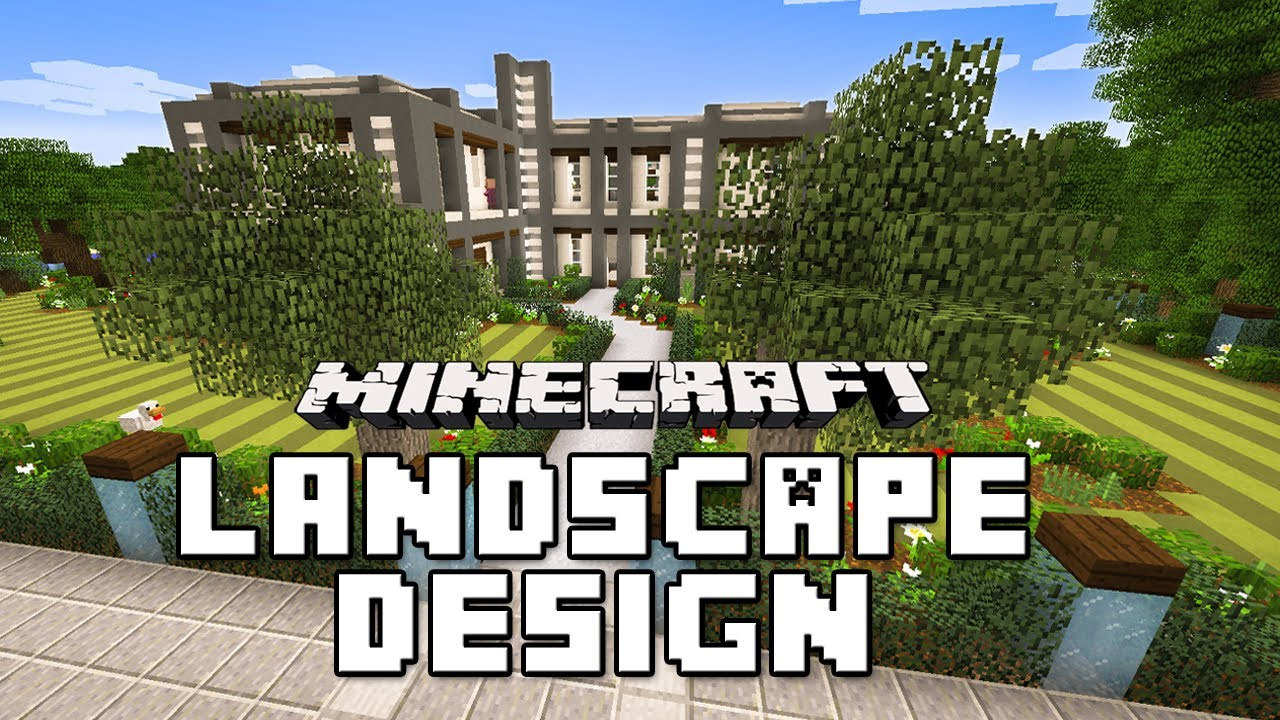 Minecraft tutorial garden landscape with custom trees and House build