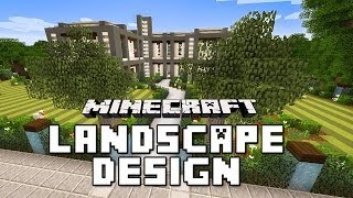 Gambar cover Minecraft Tutorial: Garden Landscape with Custom Trees And Lawn  (Modern House Build Ep. 23)