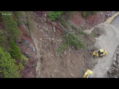 Highway 55 blocked by landslide near Smiths Ferry