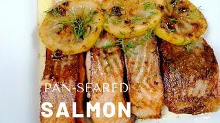 Pan Seared Salmon Recipe|Pan Sęar Salmon with Lemon Garlic Butter|Salmon Recipe