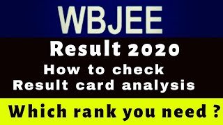 Wbjee Result 2020 | How to check and Result analysis | All type rank