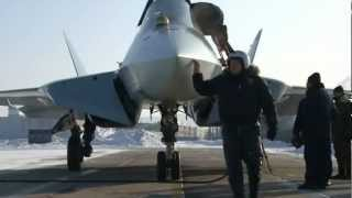 T-50-4 (4th Pak Fa prototype) taking off on long range flight