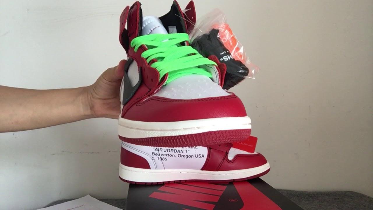 OFF WHITE x Air Jordan 1 Retro High OG Chicago AA3834 101 - YouTube 468128d56