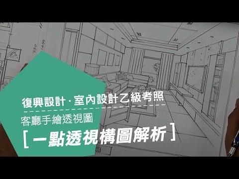 復興 乙級室內設計士考照班/1點透視構圖解析繪製