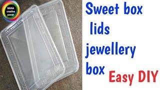 Waste Plastic sweets box lids reuse idea#Best out of waste lids craft idea#diy jewellery box