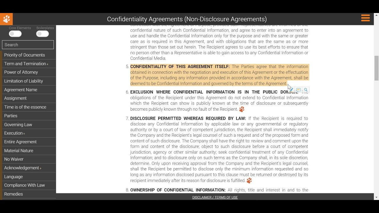 Drafting A Non Disclosure Agreement Confidentiality Of The Nda