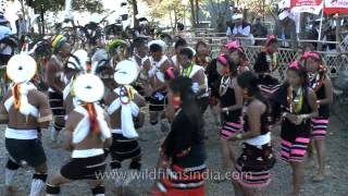 Men and women of  Zeliang Naga tribes performing  folk song & dance