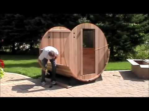Instalación Sauna Exterior Barril Rústica - YouTube