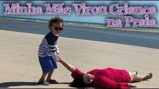Minha mãe virou criança na praia Dany e Cadu