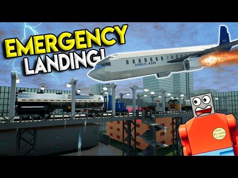 LEGO AIRPLANE MAKES EMERGENCY CRASH LANDING! - Brick Rigs Gameplay Challenge - Crash Challenge