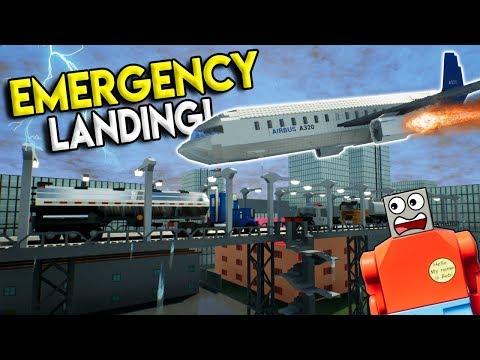 LEGO AIRPLANE MAKES EMERGENCY CRASH LANDING! - Brick Rigs Gameplay Challenge - Crash Challenge