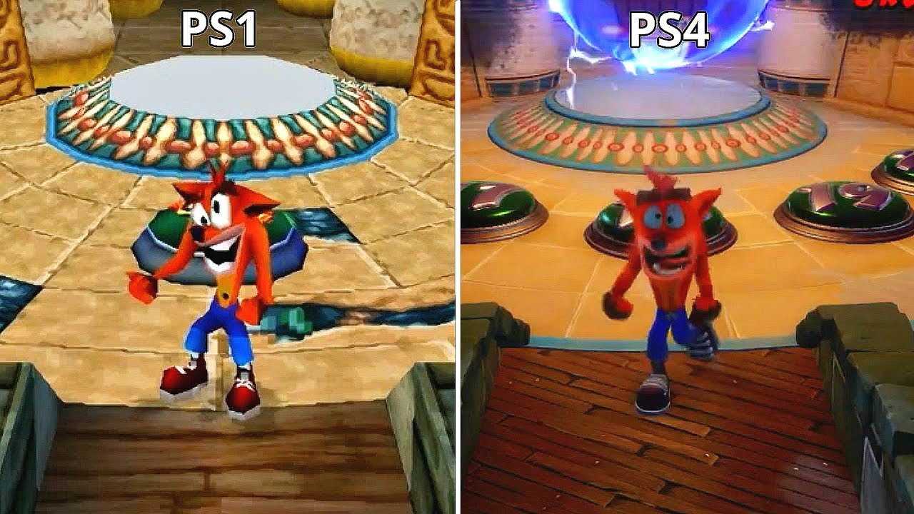 Crash Bandicoot N. Sane Trilogy Remaster PS4 vs PS1 Graphics Comparison (Tomb Wader Level) - YouTube