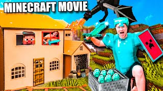 MINECRAFT The MOVIE IRL  Minecraft Box Fort Defeating The Ender Dragon