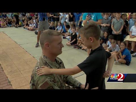 Air Force dad surprises son at Port Orange elementary school