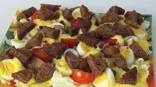 Салат со Скумбрией и Сухариками кулинарный видео рецепт