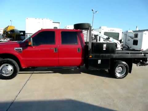 2008 Ford F350 Crew Cab 4X4 Diesel Flatbed Auto Crane Service Utility Truck Mechanics Bed .MOV