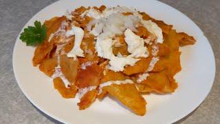 Chilaquiles rojos al chipotle , crujientes y deliciosos , desayuno Mexicano!
