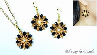 DIY flower beaded pendant and earrings. Easy to make beaded earrings for beginners
