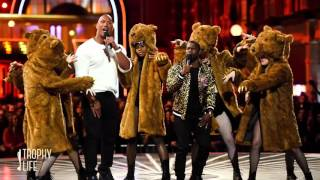 kevin hart the rock rap about leonardo dicaprio got f ked by a bear mtv movie awards 2016 video