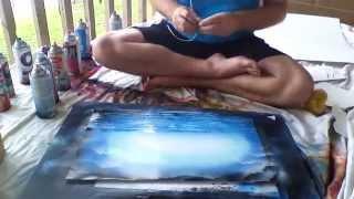 Spray Paint Art - Blue Forrest