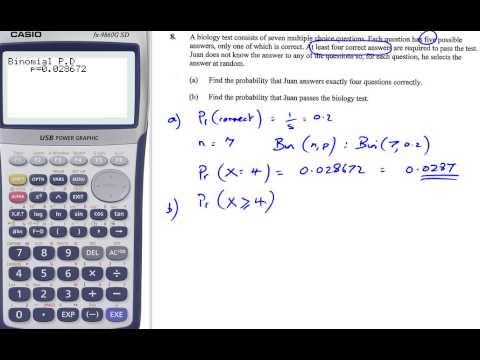casio hint 3 binomial distribution - YouTube