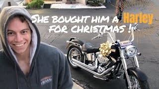 Megan surprised her boyfriend with a Harley!