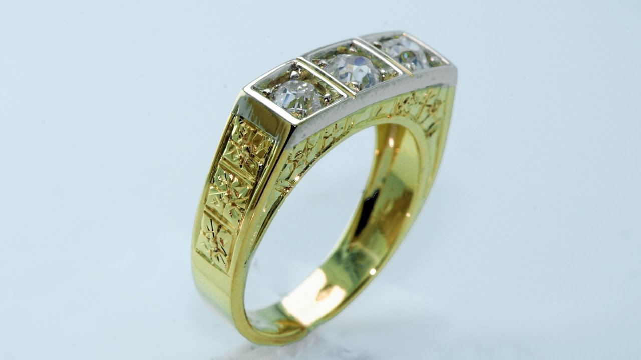 Handmade 18 Kt Gold Ring Antique Style Scaffoal