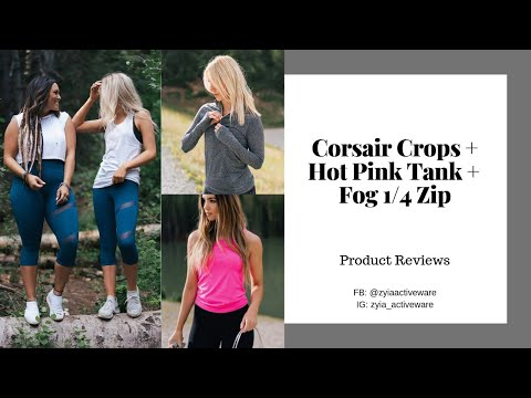 Corsair Blue Crops + Pink Copper Charged Tank + Fog Performance Zip | ZYIA Active Product Reviews