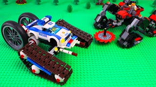 LEGO Cars experemental Police tractor bulldozer and vehicle buzz saw Video for kids