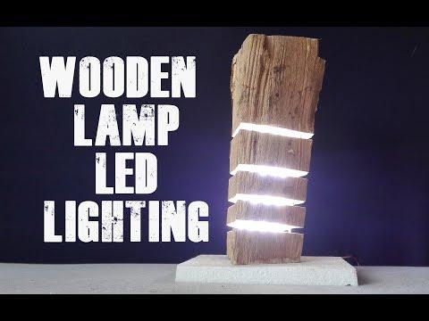 How to Make Wooden Lamp LED Lighting  DIY