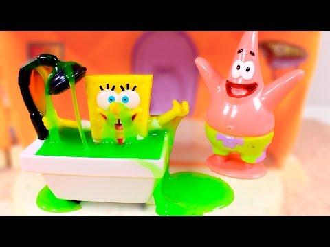🌟 SPONGEBOB 🌟 Funny Slime Bath ❤️ Videos and games for kids