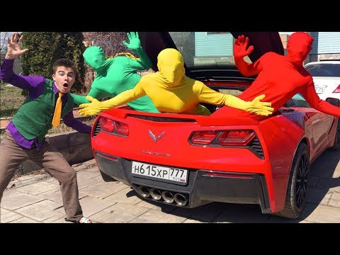 Green Man & Mr. Joe Climbed Into Corvette's Trunk And Turned In Red Man W/ Funny Yellow Man For Kids