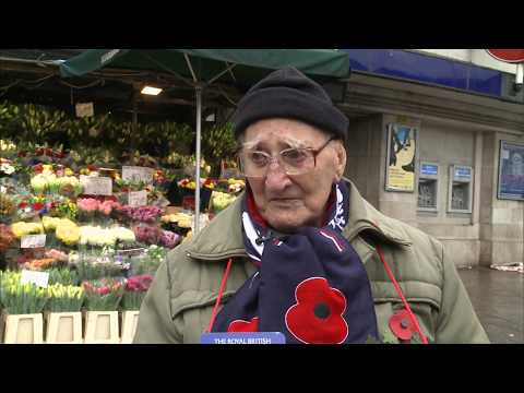 97-year-old WWII Poppy Appeal collector (UK) - ITV London News - 2nd November 2018