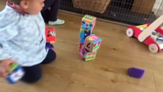 toddler building block tower