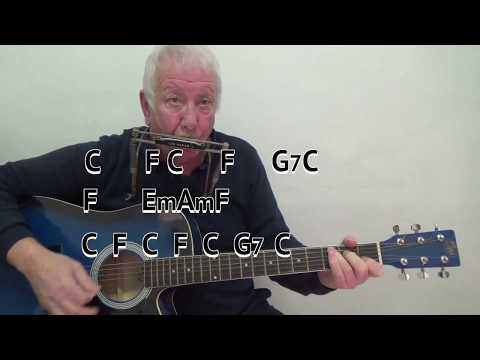 Shenandoah - easy chord guitar lesson with on-screen chords and lyrics - guitar/mouth organ