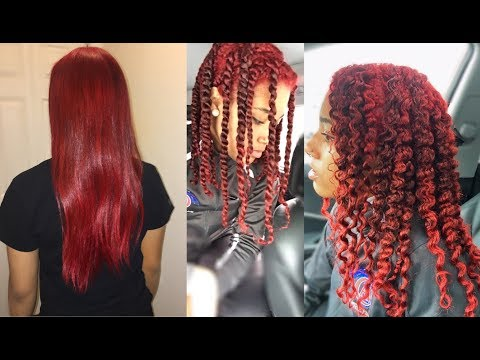 Watch My daughter get her NATURAL hair Colored Red