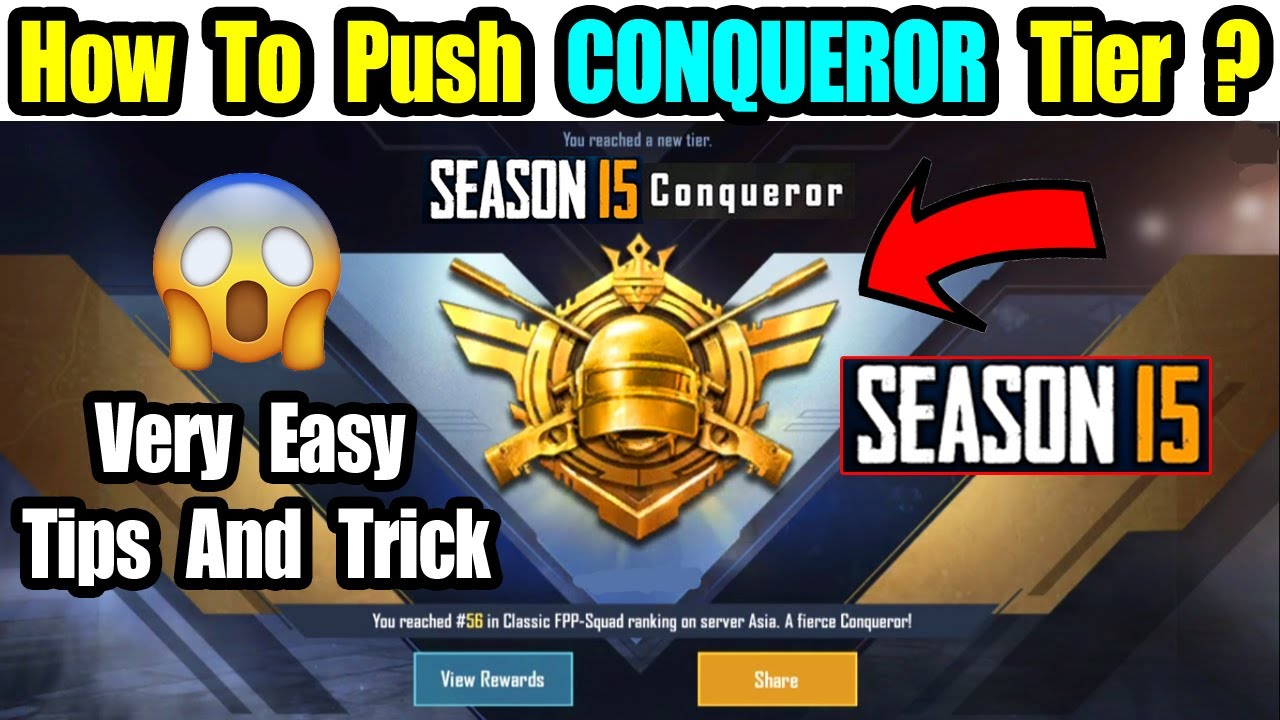 HOW TO PUSH CONQUEROR SEASON 15 IN PUBG MOBILE EASIEST WAY TO PUSH CONQUEROR HINDI FULL GUIDE